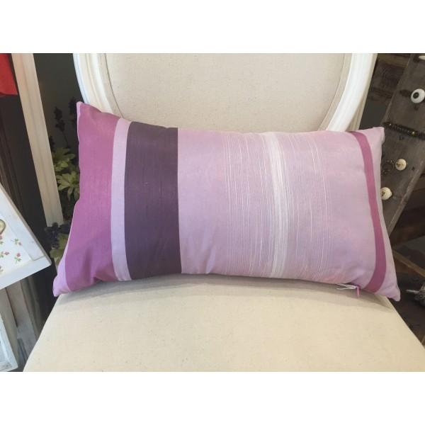 Cojín seda rosa y morado